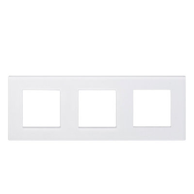 Рамка на три модуля из стекла. Белая