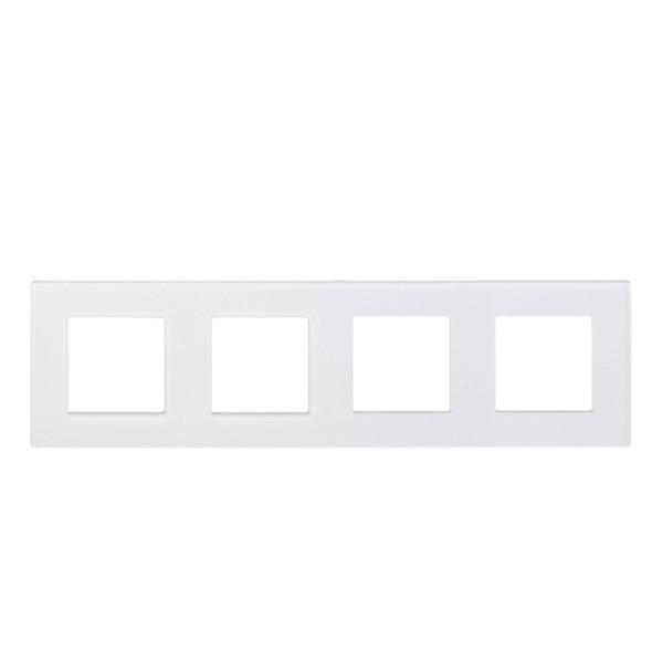 Рамка на четыре модуля из стекла. Белая