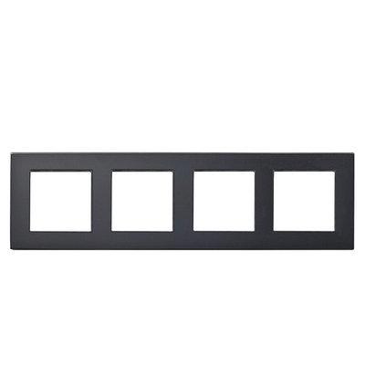 Рамка на три модуля из стекла. Черная