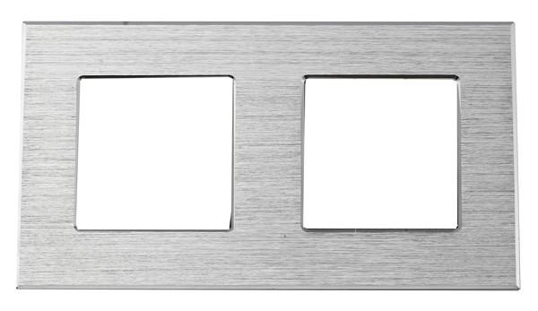 Рамка на два модуля из алюминия. Серебристая