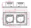 Рамка на два модуля из алюминия. Серебристая, фото 3