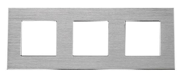 Рамка на три модуля из алюминия. Серебристая
