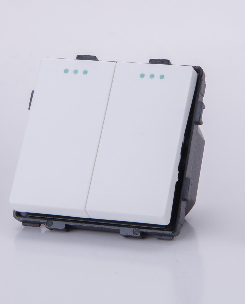 Двухклавишный модуль-выключатель, Белый