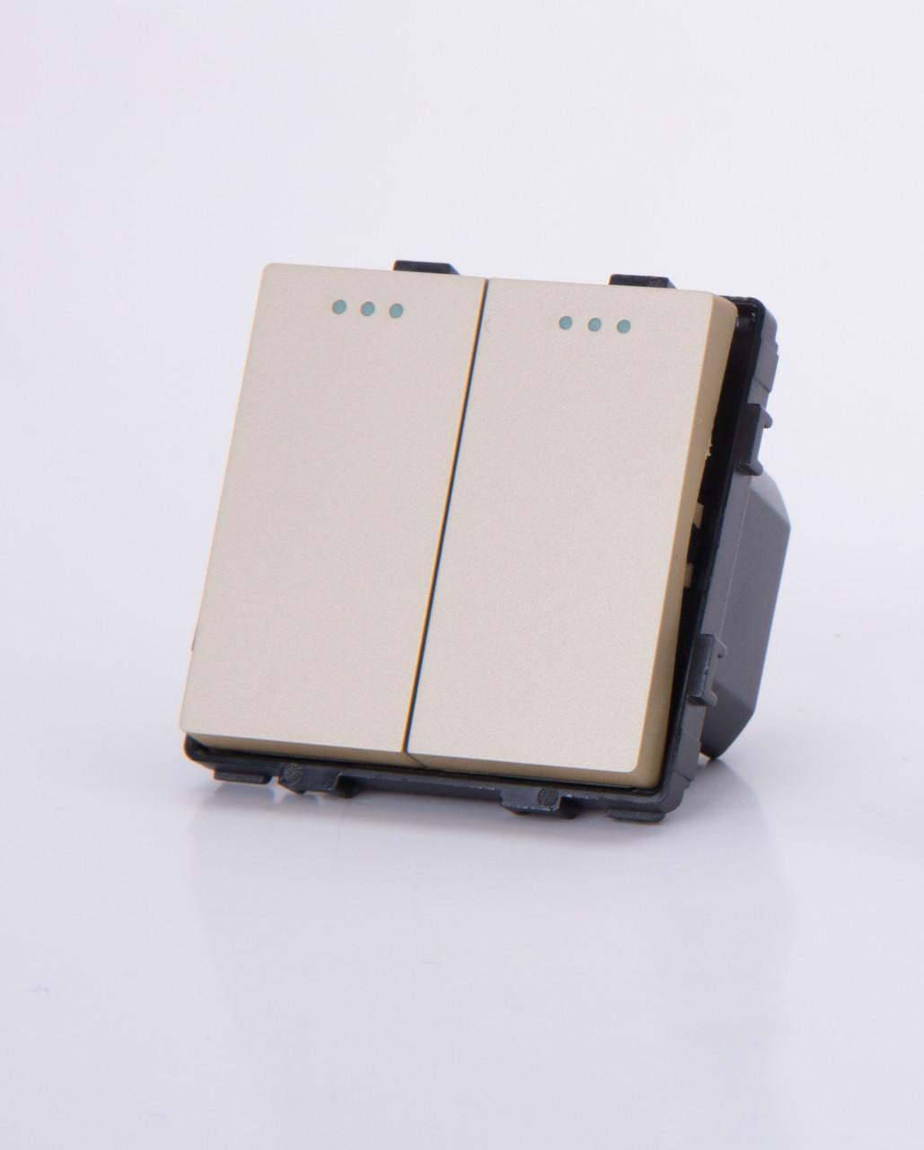Двухклавишный модуль-выключатель, Золотистый
