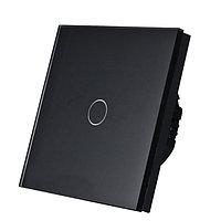 Выключатель проходной(ВИВЬЕН) сенсорный одноклавишный Черный Стекло, фото 1