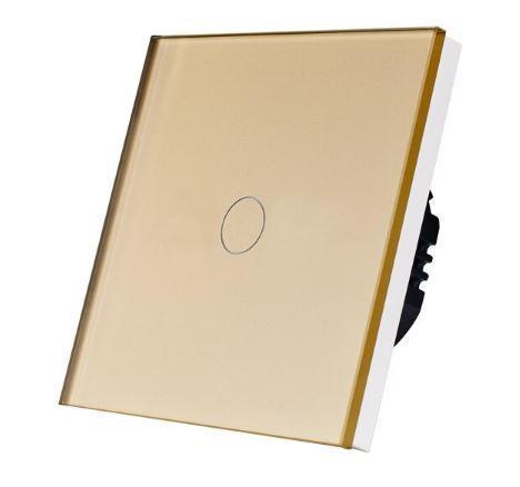 Выключатель проходной(ВИВЬЕН) сенсорный одноклавишный Золотой Стекло