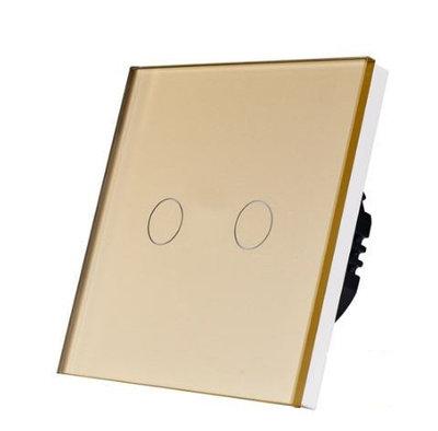 Выключатель проходной(ВИВЬЕН) сенсорный двухклавишный Золотой Стекло