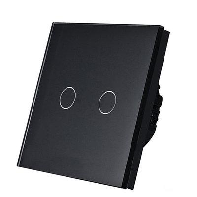 Выключатель проходной(ВИВЬЕН) сенсорный двухклавишный Черный Стекло