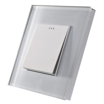 Проходной одноклавишный выключатель Белый Стекло