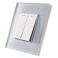 Проходной двухклавишный выключатель Белый Стекло, фото 1