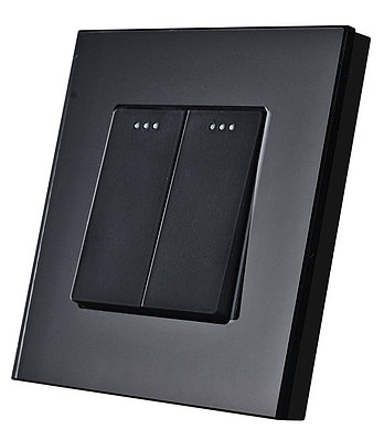 Проходной двухклавишный выключатель Черный Стекло