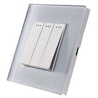 Трехклавишный выключатель Белый Стекло, фото 1