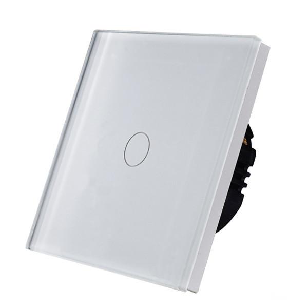 Бюджетный Выключатель сенсорный одноклавишный белый стекло