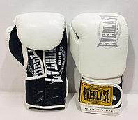 Боксерские перчатки Everlast ( натуральная кожа )  цвет черный /белый