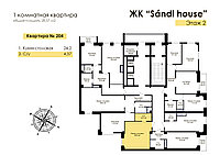 1 комнатная квартира в ЖК Sandi House 28.57 м², фото 1