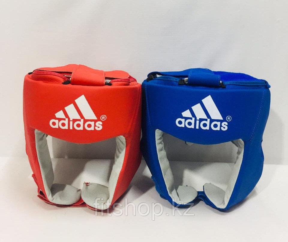 Кожаный шлем для бокса ADIDAS  со знаком AIBA цвет красный ,синий