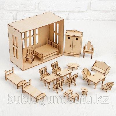 Набор мебели для домика, 20 предметов, для кукол 7-9 см (цельный)