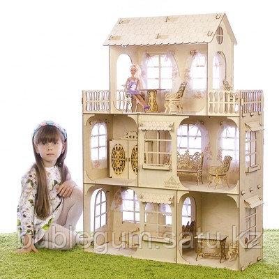 """Конструктор """"Большой кукольный дом"""", без мебели и текстиля, фанера — 3 мм, этаж: 33 см"""
