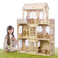 """Конструктор """"Большой кукольный дом"""", без мебели и текстиля, фанера 3 мм, этаж: 33 см"""