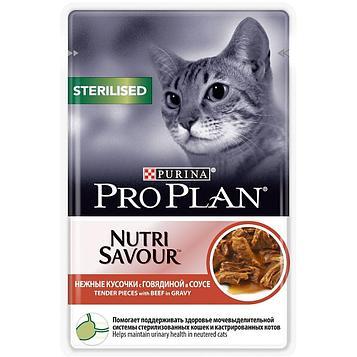 Влажный корм для стерилизованных кошек ПроПлан, Говядина в соусе