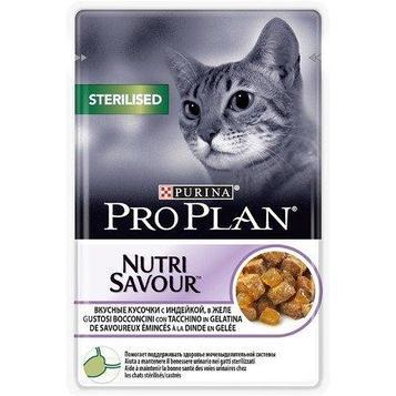Влажный корм для стерилизованных кошек ПроПлан, Индейка в желе