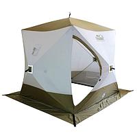 "Палатка зимняя куб Следопыт ""Premium"" 2,1х2,1 м, 4-х местная, 3 слоя, цв. белый/олива"