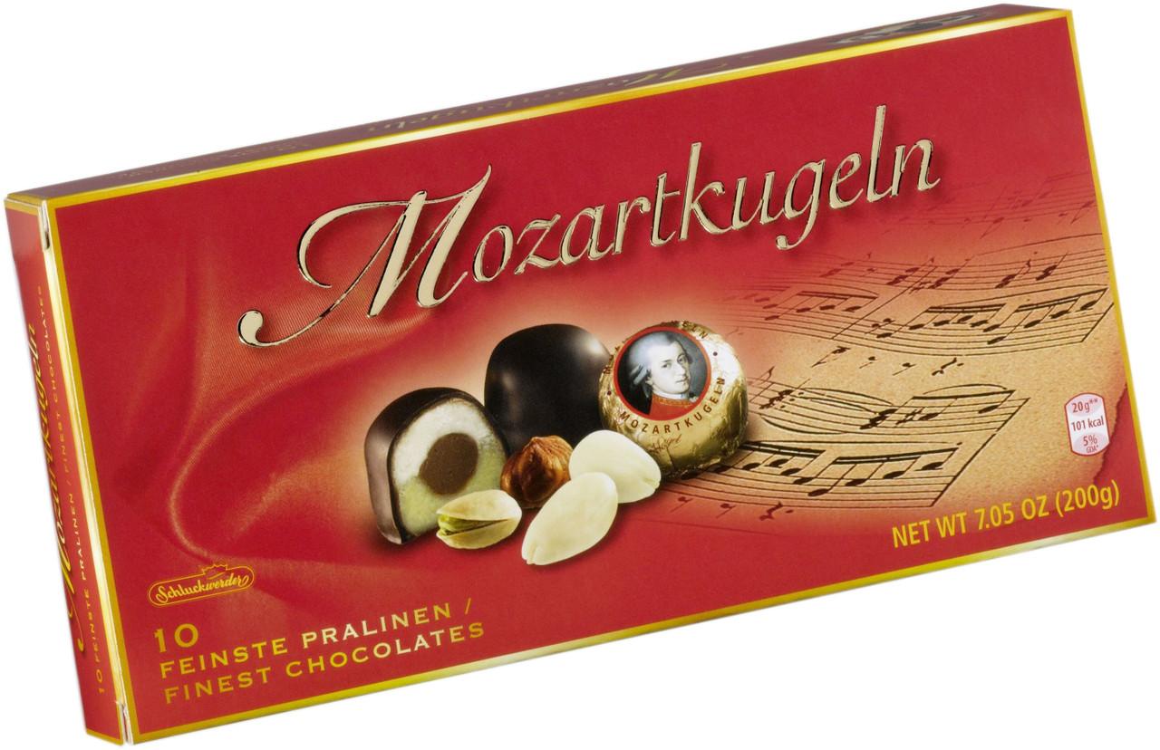 Конфеты Schluckwerder Mozartkugeln фисташковый марципан в шоколаде 200гр