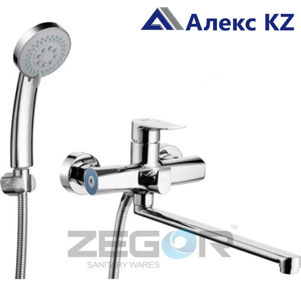 Смеситель ZEGOR NOG7-A134 одноручный для ванны с плоским изливом, дивертор