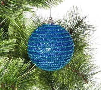 Набор елочных шаров декорированных бисером и глиттером, синие