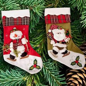 Рождественский носок для подарков c Дедом Морозом, светло-зеленый