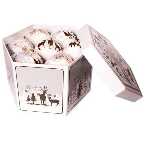 Набор елочных шаров с рисунком «Зимний лес», 14 предметов