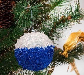 Набор елочных шаров декорированных глиттером, 12 предметов (Синий)