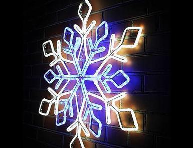 Световая фигура из дюралайта «Снежинка» (Диаметр 65 см / Синий)