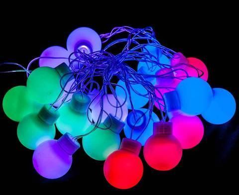 Светодиодная гирлянда LED с плафонами «Разноцветные шарики», 4 метра, фото 2