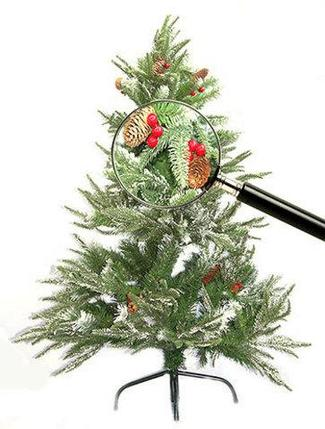 Елка новогодняя «Триумф», заснеженная с шишками и рябиной (150 см), фото 2
