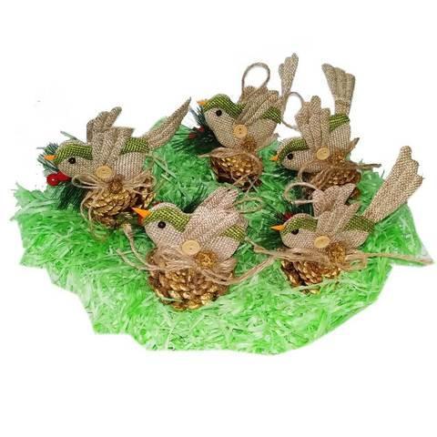 Набор новогодних ёлочных игрушек «Птички», 5 штук