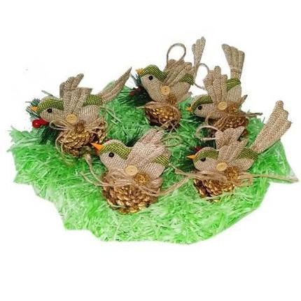 Набор новогодних ёлочных игрушек «Птички», 5 штук, фото 2