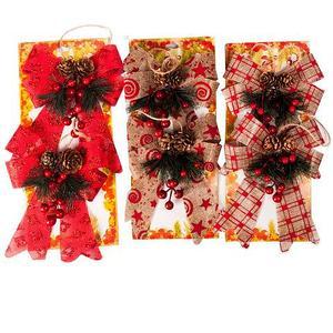 Набор новогодних украшений «Бантик с шишками», 2 штуки (Бежевый с узором)