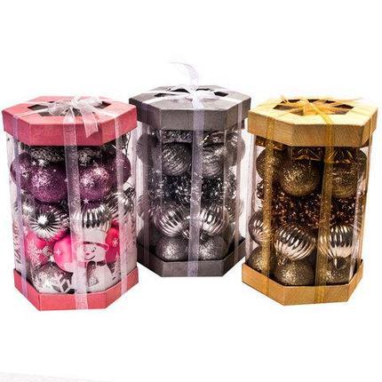 Набор елочных игрушек «Новогоднее изящество» в подарочной упаковке [35 шт] (Розовый и серебряный), фото 2