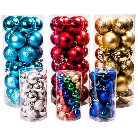 Набор елочных шаров с декоративным покрытием трех видов в тубе (Бирюзовый / 6,5 см)