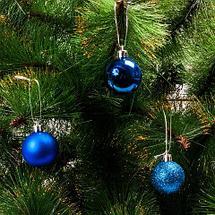 Набор елочных шаров с декоративным покрытием трех видов в тубе (Бирюзовый / 6,5 см), фото 3