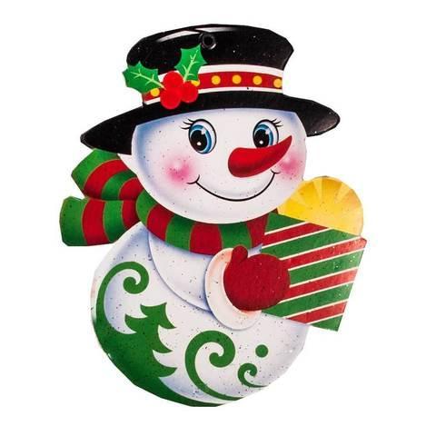 Комплект новогодних подвесок с глиттером «Праздник на пороге» [10 шт] (Снеговик)