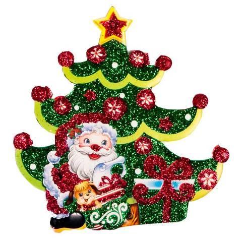 Комплект новогодних подвесок с глиттером «Праздник на пороге» [10 шт] (Дед Мороз и ёлка)