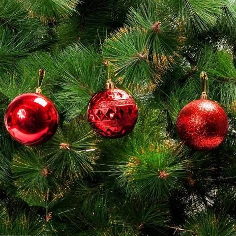 Набор елочных шаров MERRY CHRISTMAS в праздничной упаковке [12 шт] (Красный)