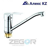 Смеситель ZEGOR PDF4-A182 одноручный для кухни с поворотным изливом,гайка (корона)
