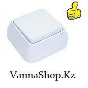 Выключатель наружный одноклавишный АБС-Пластик. белого цвета.
