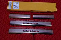 """Накладки на внутренние пороги с надписью, нерж. сталь, 4 шт. MITSUBISHI Lancer """"07-"""