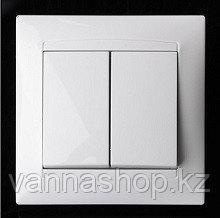 Выключатель внутренний двух клавишный АБС-Пластик. белого цвета.