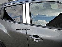 """Накладки на внешние стойки дверей, 4 части, алюминий (4D) HONDA Civic """"12-"""