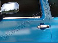 """Накладки на дверные ручки, нерж., 2 двери ( с 2-мя отверстиями под ключ) NISSAN Navara """"05-09"""""""